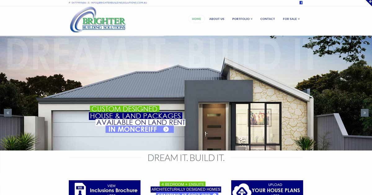 Brighter building solutions website canberra website for Building design website